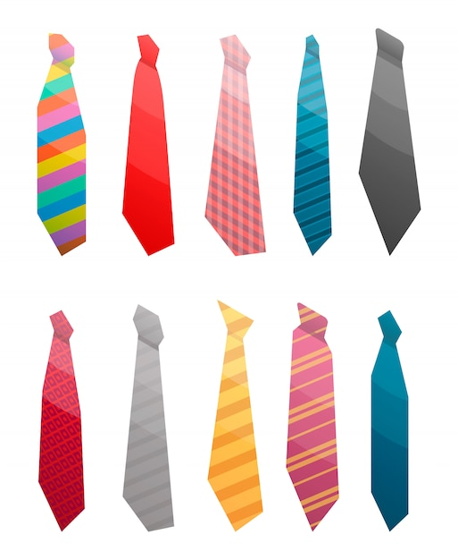 Tie suit icon set. isometric set of tie suit vector icons for web design isolated on white background Premium Vector