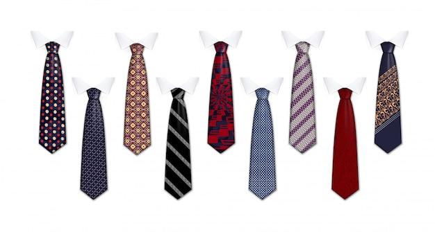 Tie suit icon set Premium Vector