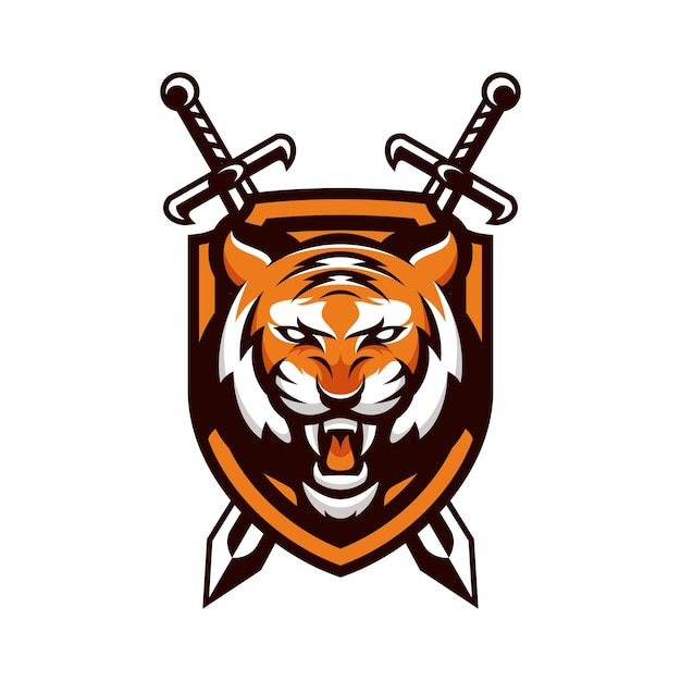 tiger animal sport mascot head logo vector vector