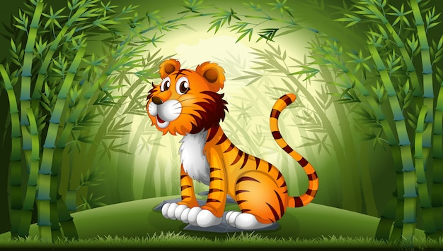 Tiger in the bamboo forest Free Vector