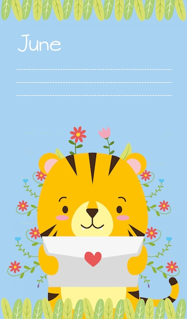 Tiger card, cute animal cartoon and flat style, illustration Free Vector