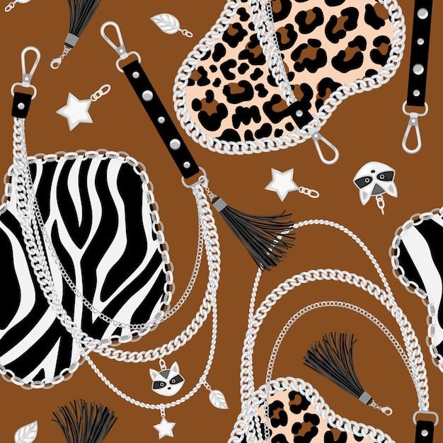 Tiger chains seamless pattern Premium Vector
