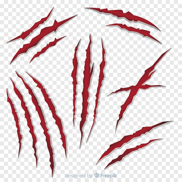 Tiger claws mark collection Free Vector