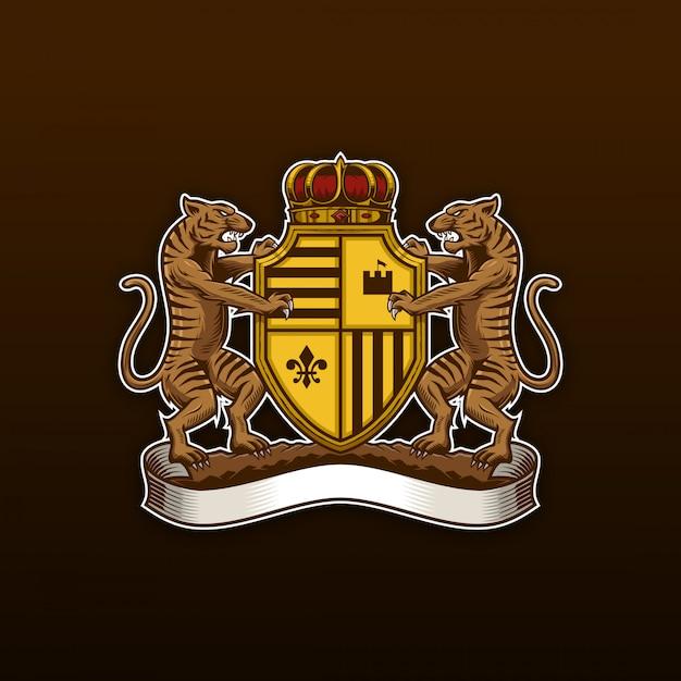 Tiger coat of arms Premium Vector