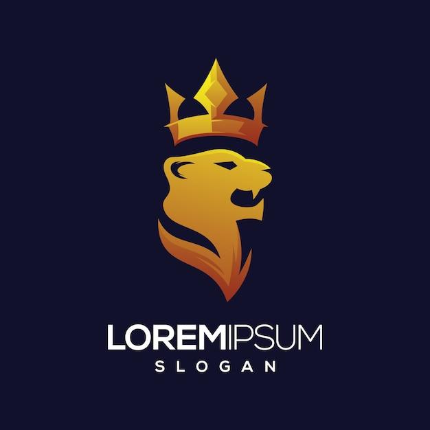 Tiger crown logo gradient logo design Premium Vector