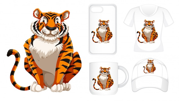 Tiger on different products Free Vector