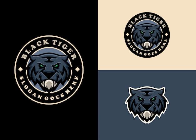 Tiger emblem mascot modern character logo design Premium Vector