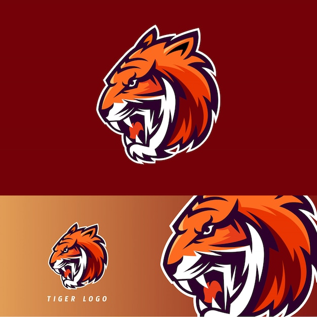 Tiger esport gaming mascot emblem Premium Vector