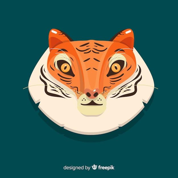 Sfondo di faccia di tigre Vettore gratuito