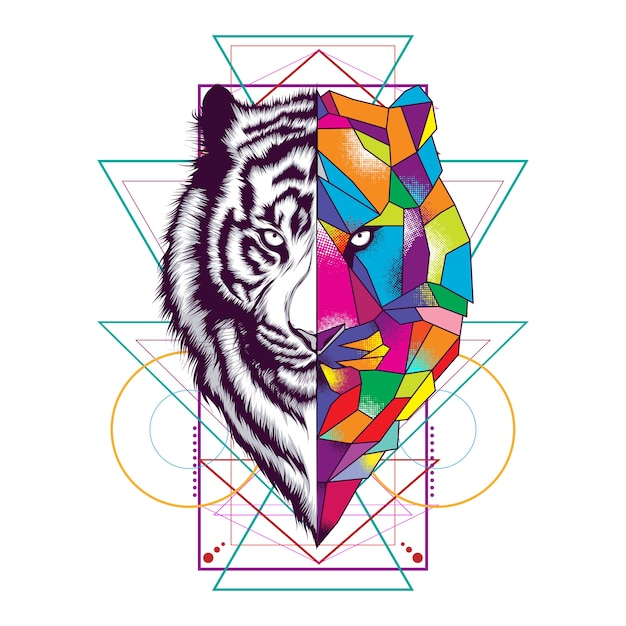 Tiger face with sacred geometry ornament Premium Vector