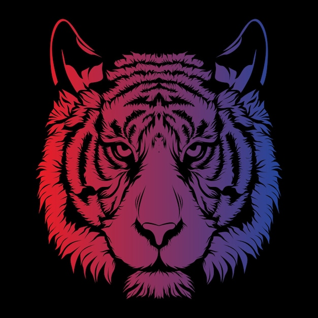 Tiger face with shading Vector | Premium Download