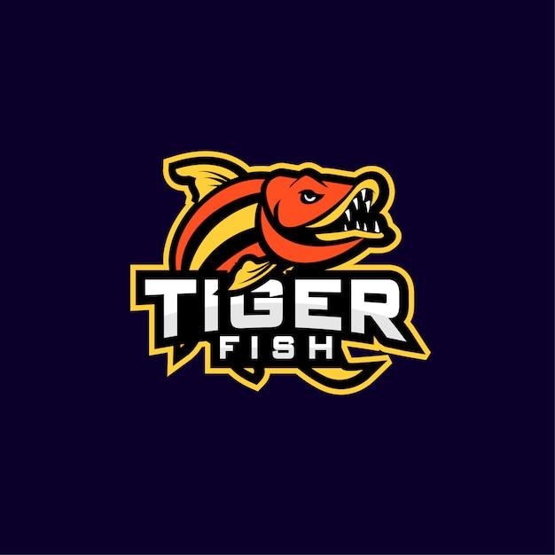 Tiger fish sport logo Premium Vector