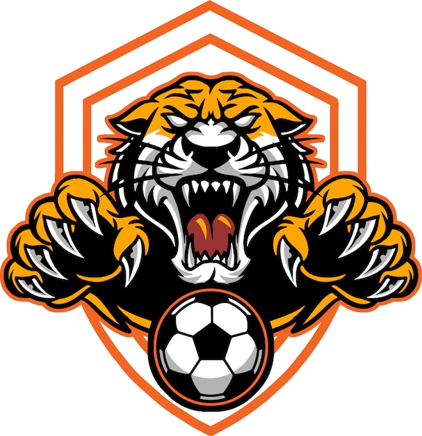 Tiger football Premium Vector