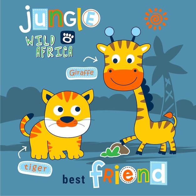 Tiger and giraffe funny animal cartoon Premium Vector