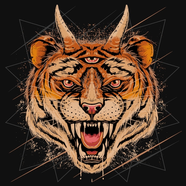 Tiger head angry face with horn and three eyes detail with grunge effect editable layers Premium Vector