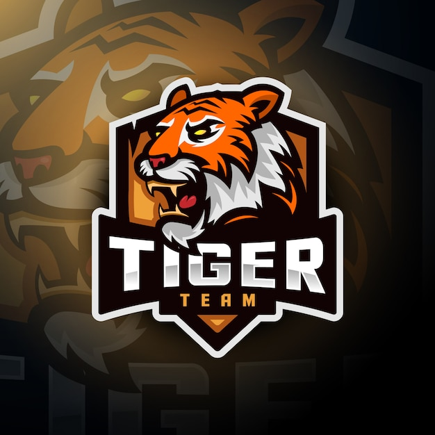 Tiger head gaming logo esport Premium Vector