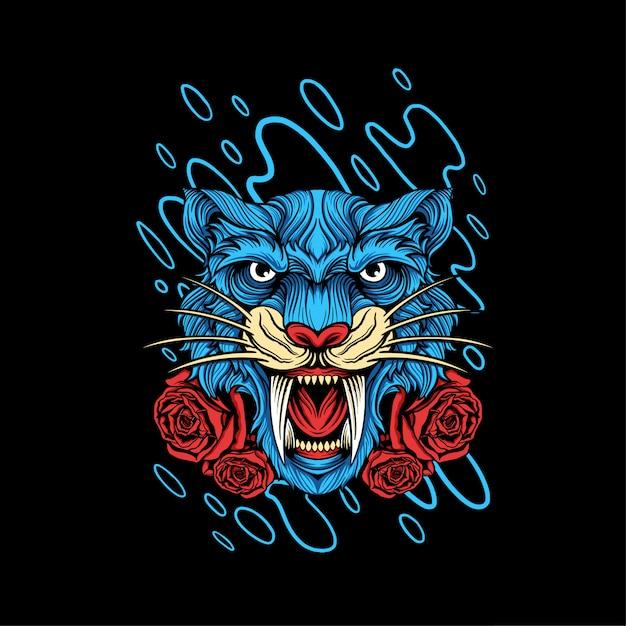 Tiger head illustration design Premium Vector