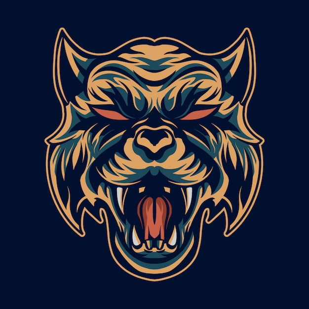 Tiger head   illustration open mouth Premium Vector