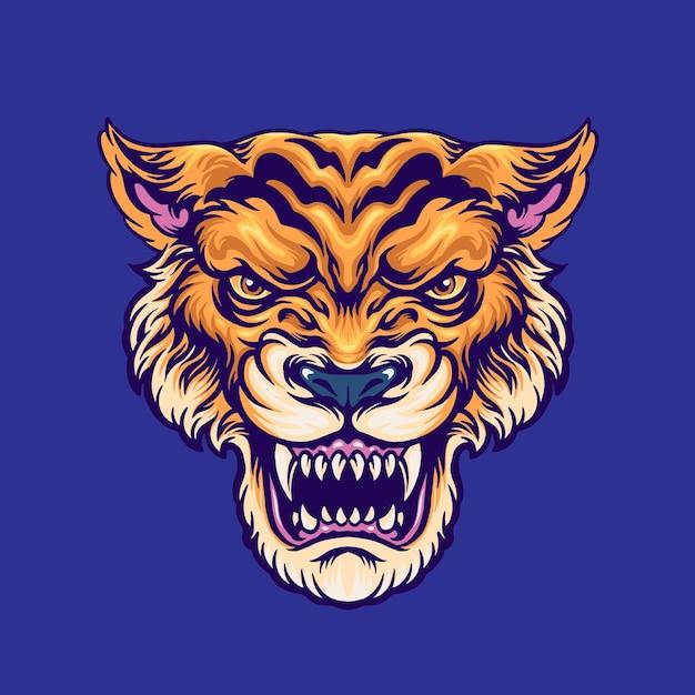 Tiger head illustration Premiumベクター