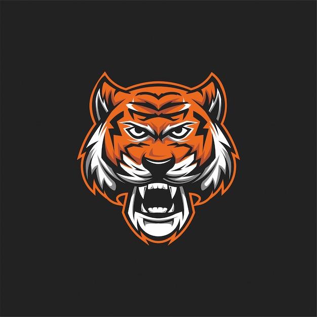 タイガーヘッドのロゴ Premiumベクター