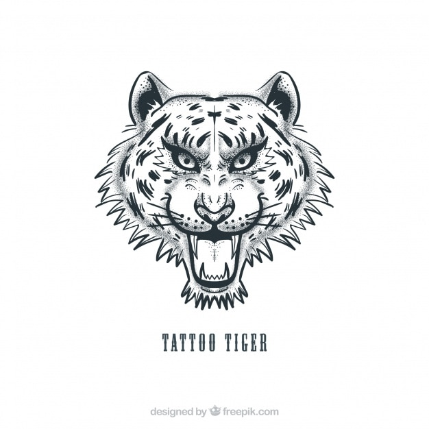 tiger head tattoo vector vector free download
