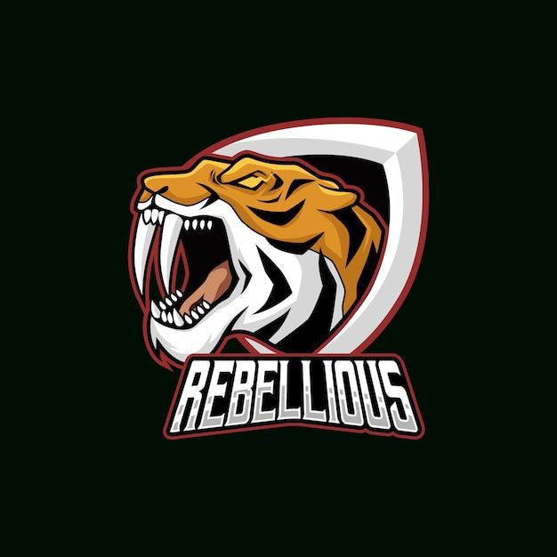 Тигровая голова векторной иллюстрации esport mascot logo Premium векторы