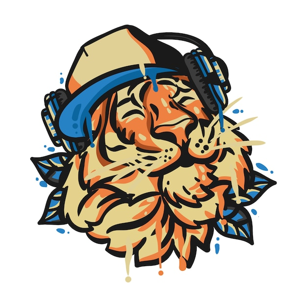 Tiger head with headphone Premium Vector