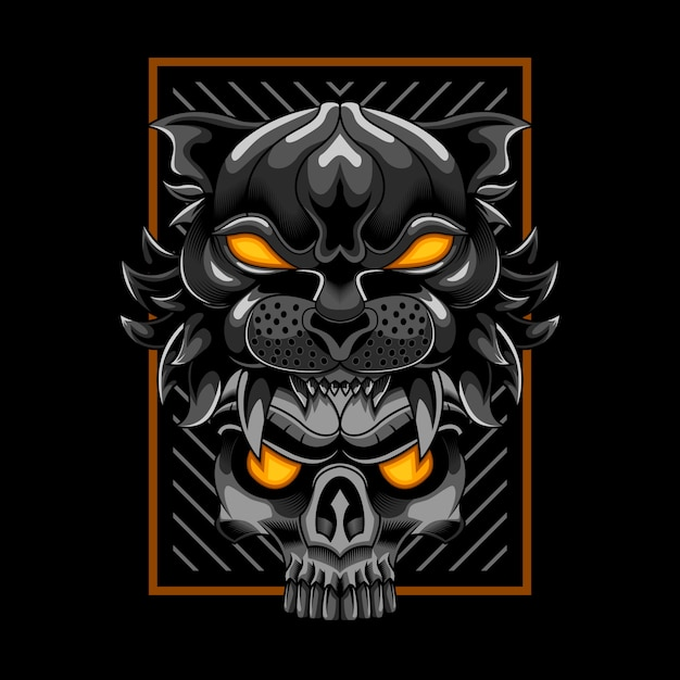 Tiger head with skull vector illustration art Premium Vector