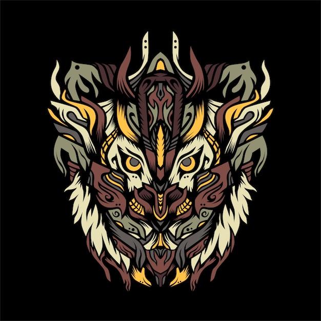 Tiger hunter with armor  illustration Premium Vector