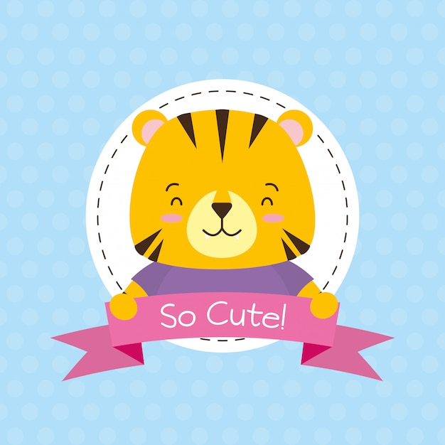 Tiger label, cute animal, cartoon and flat style, illustration Free Vector