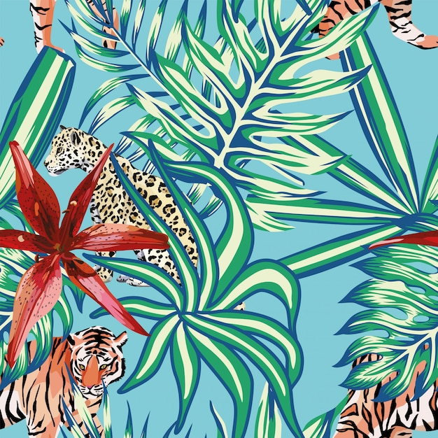 Tiger leopard tropical leaves lily seamless background blue Premium Vector