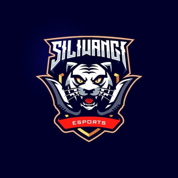 Шаблон логотипа игрового автомата tiger mascot esport Premium векторы