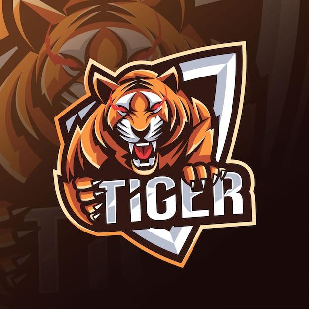 タイガーマスコットロゴeスポーツデザイン Premiumベクター