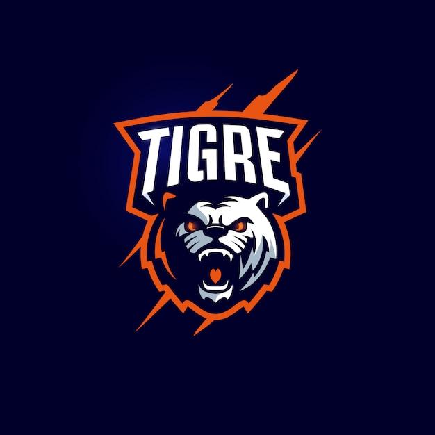 Шаблон логотипа спортивной команды tiger mascot Premium векторы