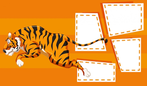 Tiger on note frame Free Vector