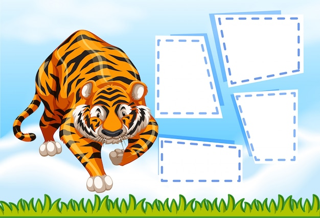 Tiger on note template Free Vector