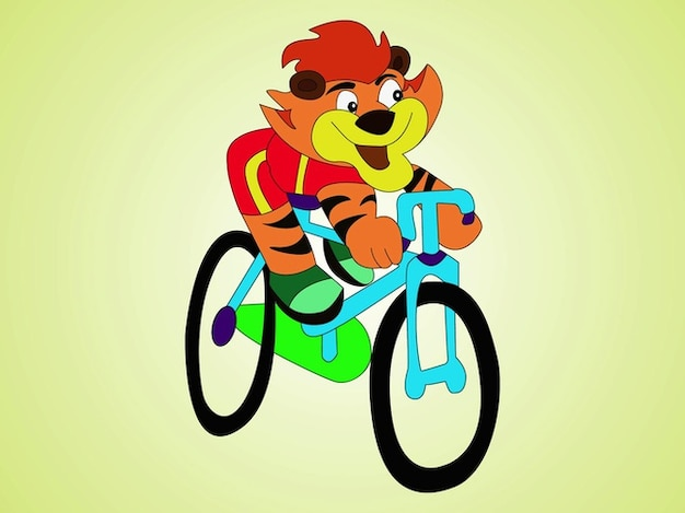 Tiger on bike cartoon character vector Free Vector