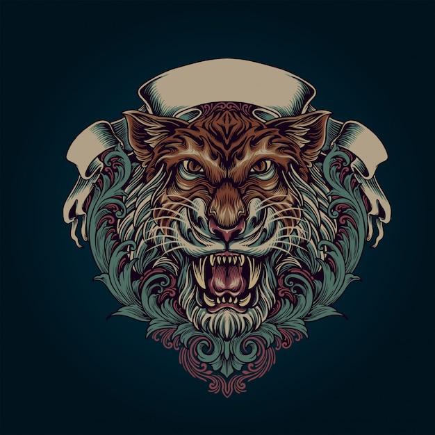 Tiger ornament Premium Vector