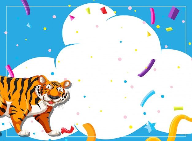 Tiger party scene invitation Free Vector