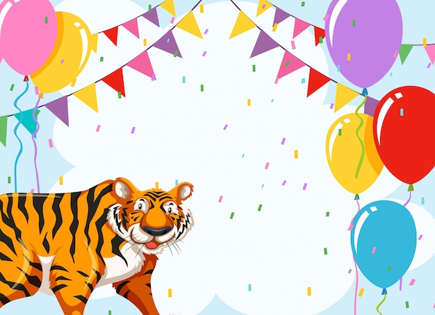 Tiger on party template Free Vector