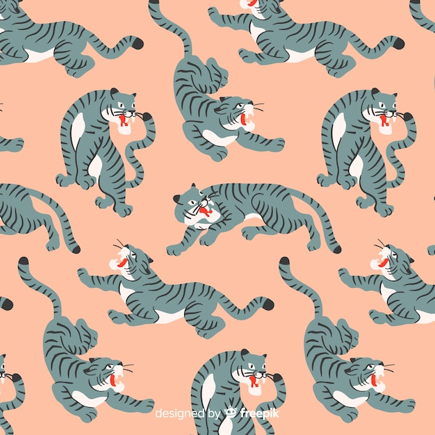 Tiger pattern hand drawn design Free Vector
