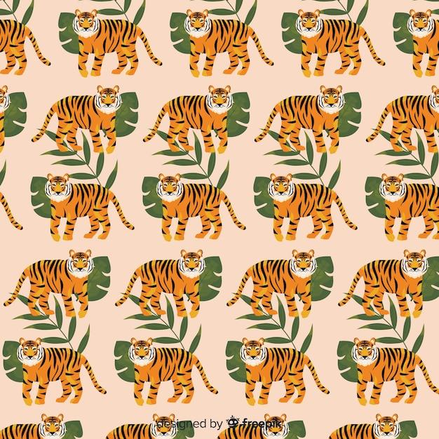 Tiger pattern hand drawn design Free Vector
