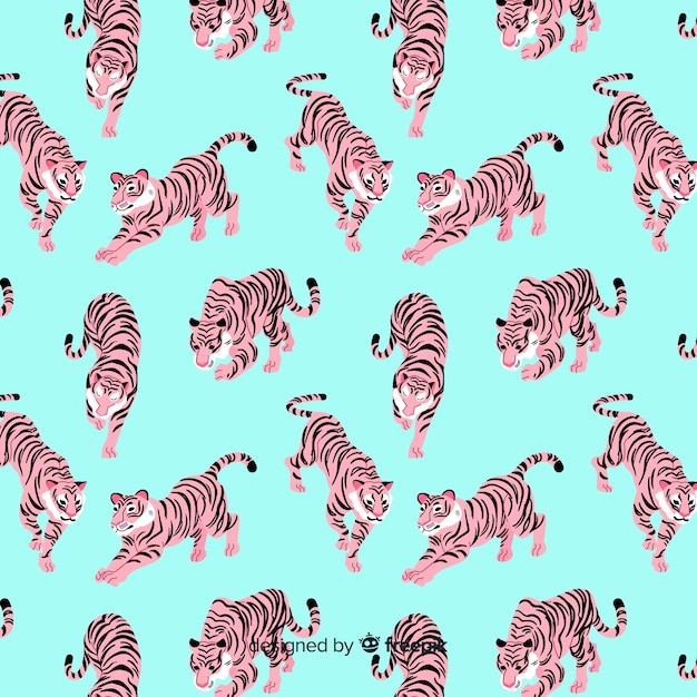 Tiger pattern hand drawn style Free Vector