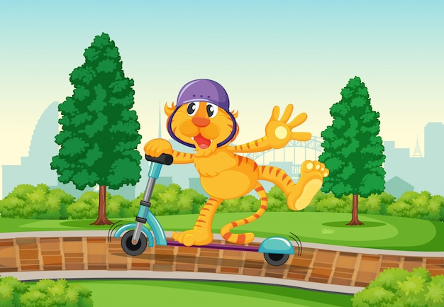 A tiger playing kick scooter in the park Free Vector