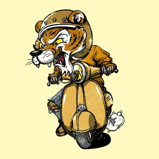 Tiger riding a motorbike Free Vector