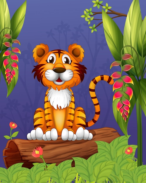 A tiger sitting in a wood Premium Vector