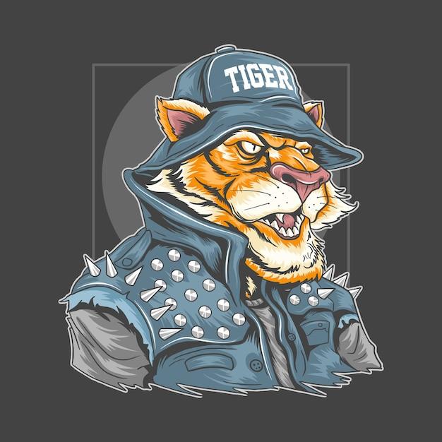 Tiger use rocker jacketとbucket hatのアートワークは、すべての色を編集可能なレイヤーで使用 Premiumベクター