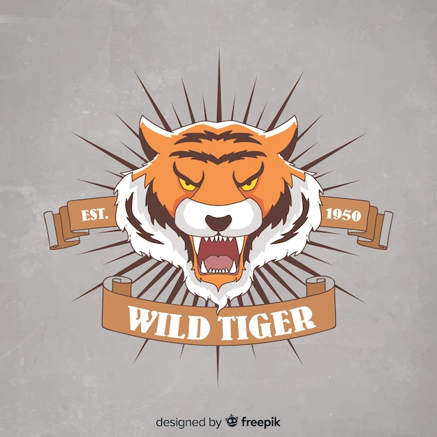 Tiger with ribbon background Free Vector