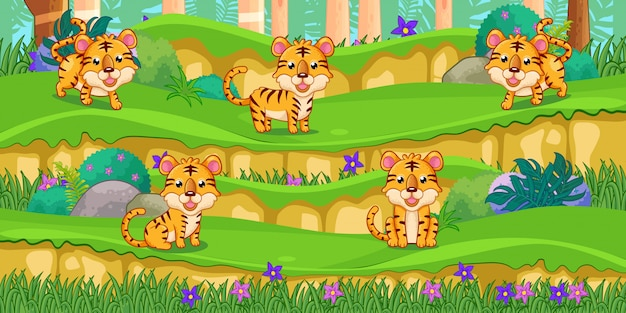 Tigers cartoon in the beautiful garden Premium Vector