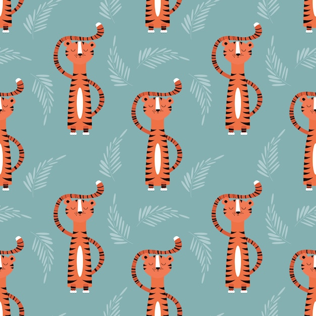 Tigers pattern design Free Vector